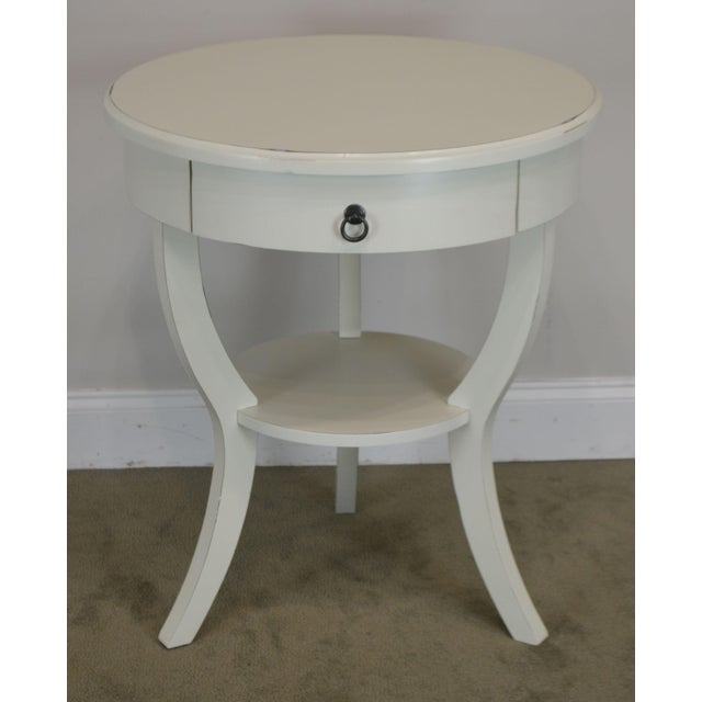 Traditional Round White One Drawer Side Table For Sale - Image 3 of 13