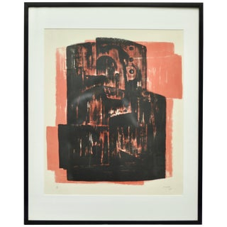 Henry Moore 'Black on Red' Lithograph, Signed and Numbered, 1963 For Sale