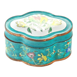 Chinese Aqua Floral Enamel Copper Box For Sale