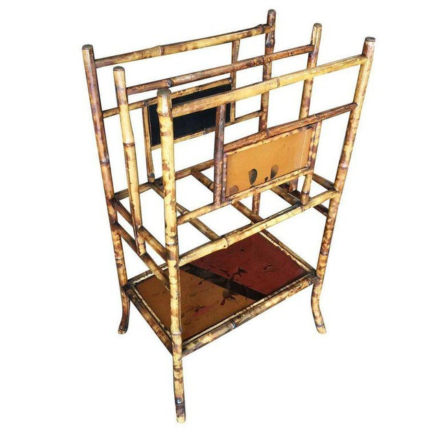 Traditional Restored Aesthetic Movement Large Two-Tier Tiger Bamboo Magazine Rack W/ Divider For Sale - Image 3 of 7