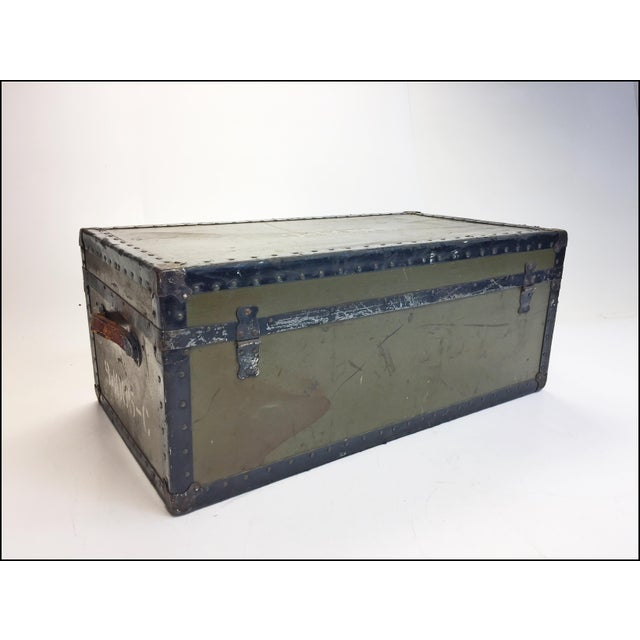 Vintage Industrial Green Us Military Foot Locker Trunk For Sale - Image 9 of 13