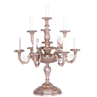 Italian Wood Carved Ten Light Flambeau For Sale