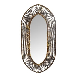 Industrial Iron Oval Basket Mirror For Sale