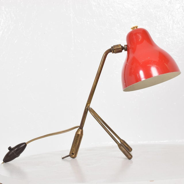 Stilnovo Mid Century Italian Modern Red Table Lamp -Wall Sconce For Sale - Image 4 of 6