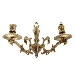 Ornate Spanish Brass Two Arm Sconce For Sale