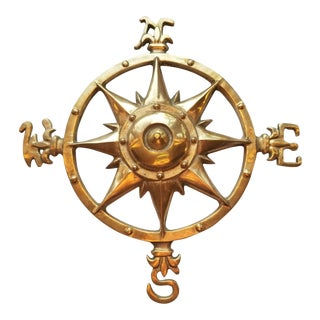 "1970s Brass Nautical Wall Compass Rose - 13"" For Sale"