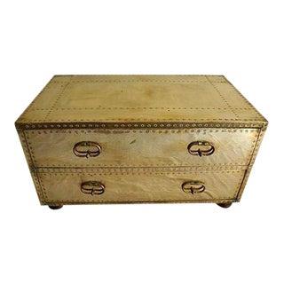 Vintage Hollywood Regency Brass Sarreid Chest Table For Sale