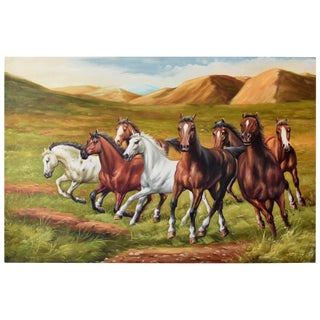 Horses Oil Painting, Signed For Sale