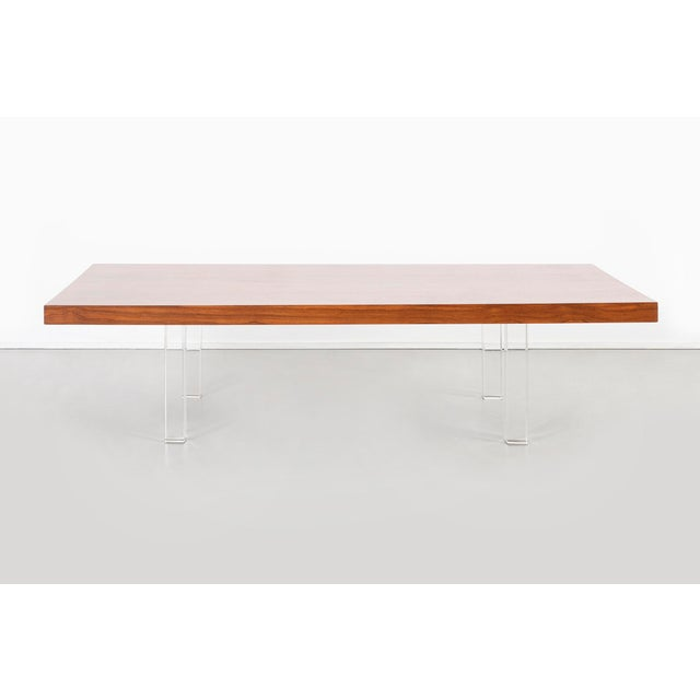 """coffee table designed by Milo Baughman for Thayer Coggin USA, c 1960s rosewood + lucite 13.5"""" h x 32"""" w x 54"""" d"""
