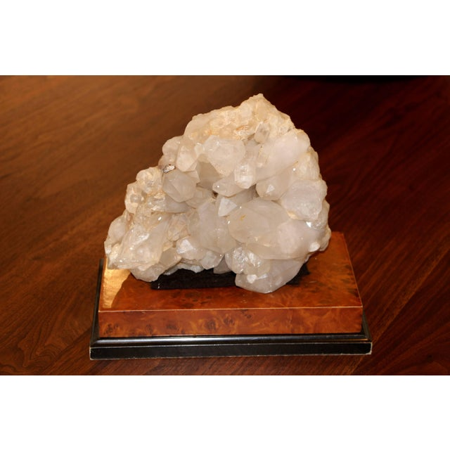 Large Quartz Crystal Specimen on Separate Leather Covered Wood Base For Sale In Palm Springs - Image 6 of 8