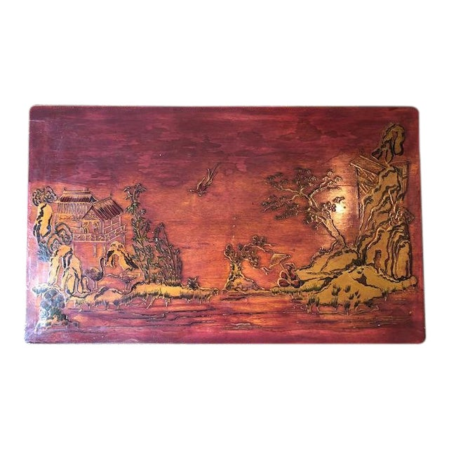 Antique Chinese Painted Wood Panel For Sale