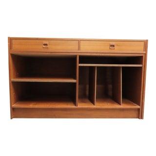 Mid Century Modern Teak Desk and Credenza Set For Sale