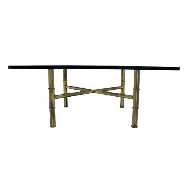 Mid-Century Modern X Base Brass Faux Bamboo Square Glass Top Coffee Table For Sale - Image 3 of 8
