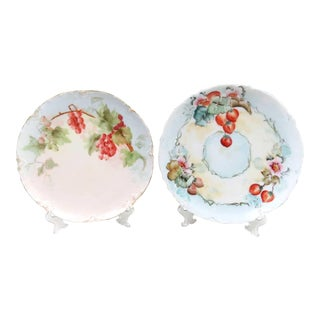Vintage Hand Painted Plates - Set of 2 For Sale