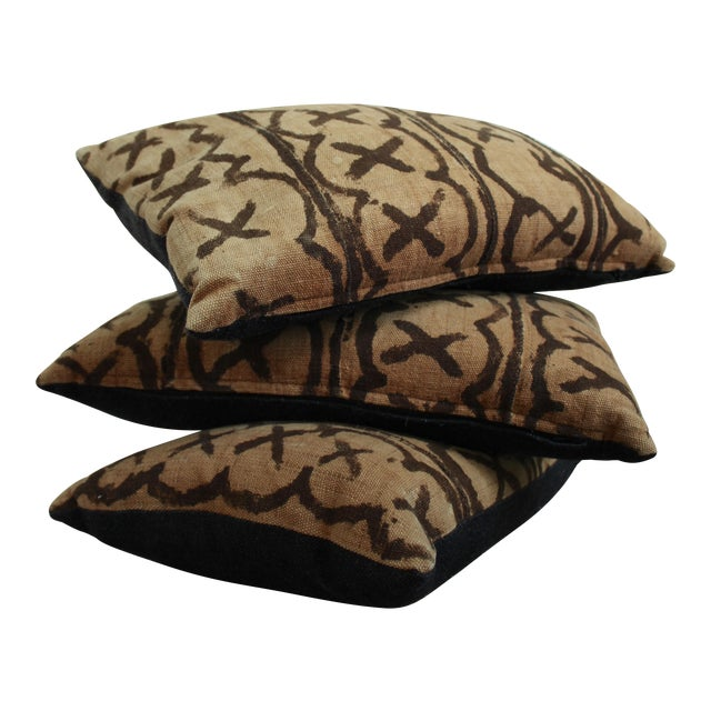 Vintage African Mudcloth Throw Pillows - Set of 3 - Image 1 of 5