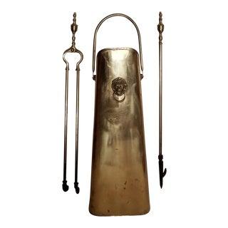 Vintage Brass Coal Scuttle W/Lion Plus Tools