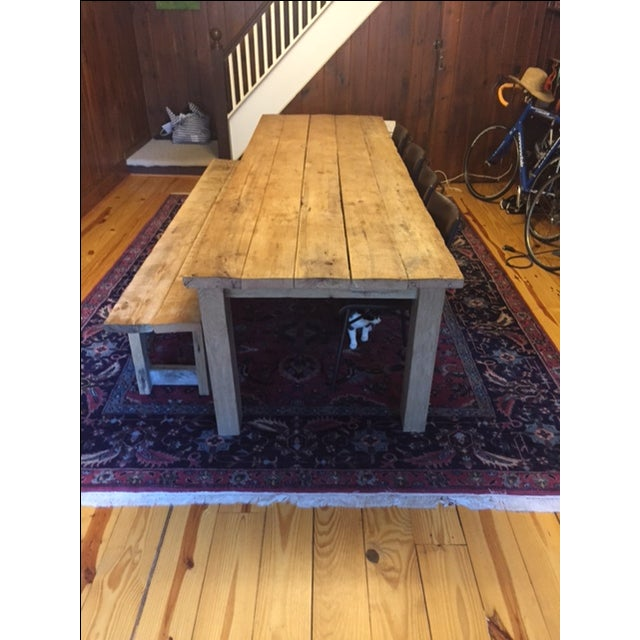 Rustic White Oak Dining Table and Bench - Image 3 of 6
