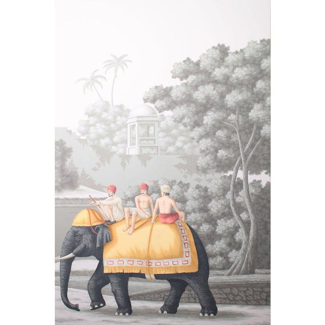 """Jardins en Fleur """"Idyllic Scenes of Ancient India"""" Hand-Painted Grisaille Triptych – 3 Pieces For Sale - Image 4 of 7"""