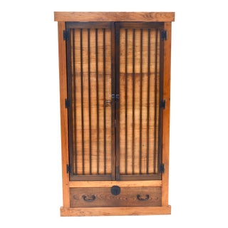 Antique Japanese Kimono Tansu Armoire For Sale