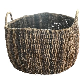 1960s Boho Chic Handwoven Basket / Planter For Sale