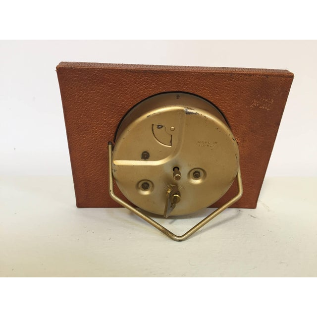 Leather and Brass Bauhaus French Endura Desk Clock Jacques Adnet Style For Sale - Image 9 of 12