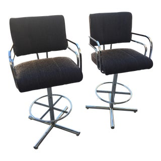 Milo Baughman Chrome Bar Stools - a Pair For Sale