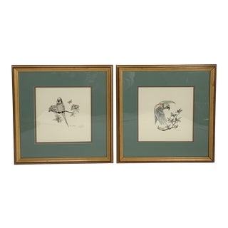 1980s Framed De Shon Birds on Branches Signed Drawings - A Pair For Sale