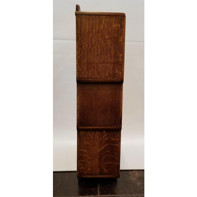 Art Deco 1920s English Art Deco Oak Display Cabinet / Bookcase With Glazed Doors For Sale - Image 3 of 12