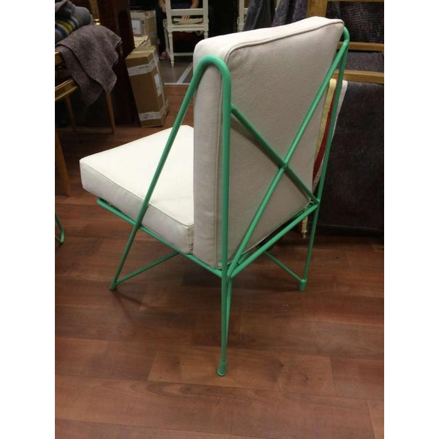 Raoul Guys Rare Set of Four Aqua Metal Chairs, Newly Recovered in Canvas Cloth For Sale - Image 6 of 8