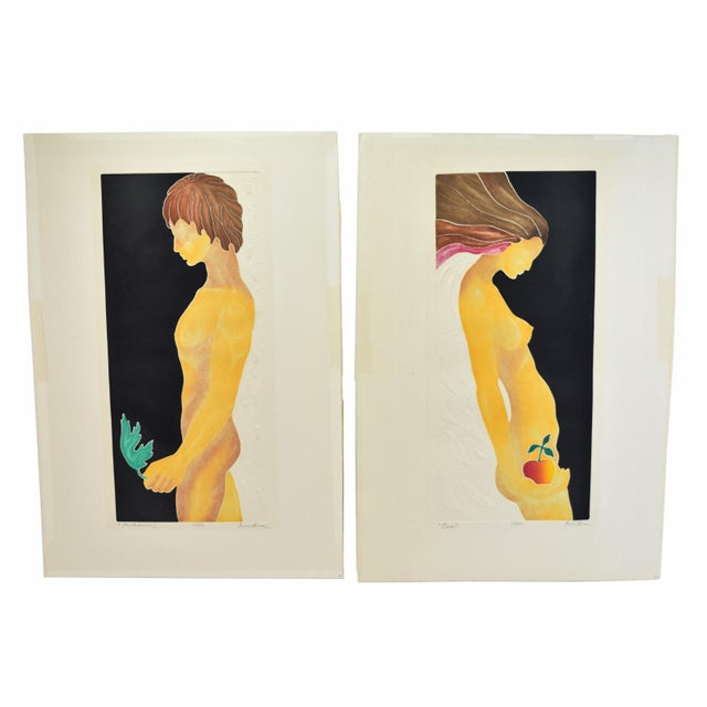 """1970's Mod Limited Edition Lithographs """"Adam"""" & """"Eve"""" Nudes - a Pair For Sale - Image 10 of 13"""