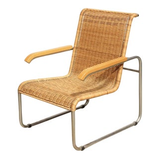 Vintage Chrome and Rattan Lounge Chair