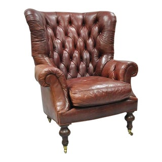 1990s Vintage Lillian August Brown Tufted Leather English Chesterfield Wing Chair For Sale