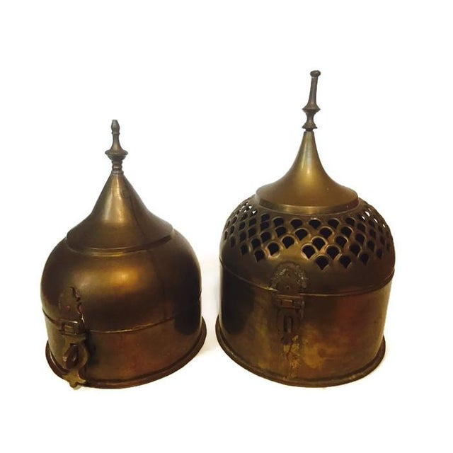 Vintage Brass Cricket Boxes Buddhist Stupa Storage Boxes - a Pair For Sale
