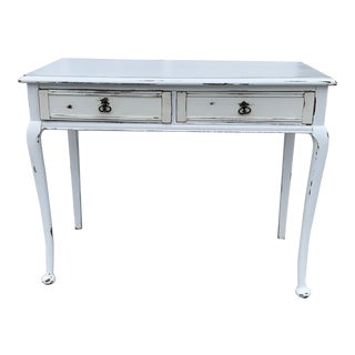 French Country Distressed White Writing Desk For Sale