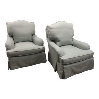 Lee Industries Custom Club Chairs - a Pair of Chairs and Matching Ottoman For Sale