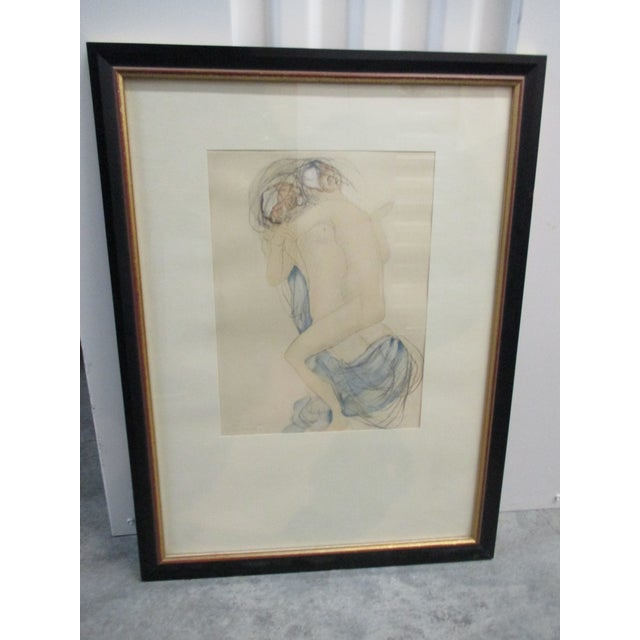 Vintage Framed Rodin Watercolor Print From Rodin Museum in Paris For Sale In Miami - Image 6 of 6