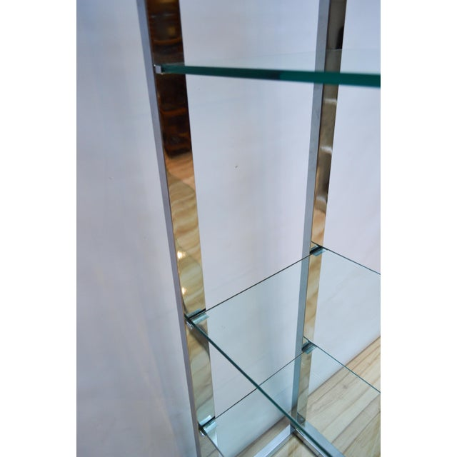 Milo Baughman-Style Arched Chrome & Glass Etagere - Image 6 of 7
