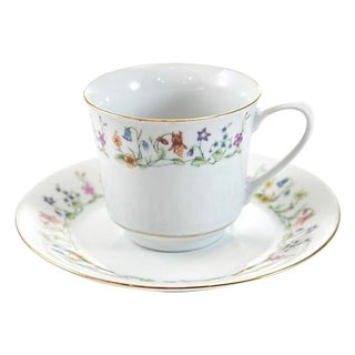 Mid-Century Floral Porcelain Cup & Saucer with Gold Rim For Sale