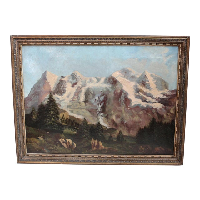 19th C. Mountain Landscape Painting For Sale