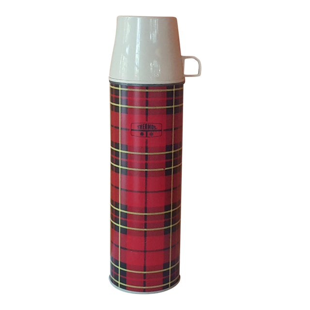 Vintage Red Plaid Thermos For Sale
