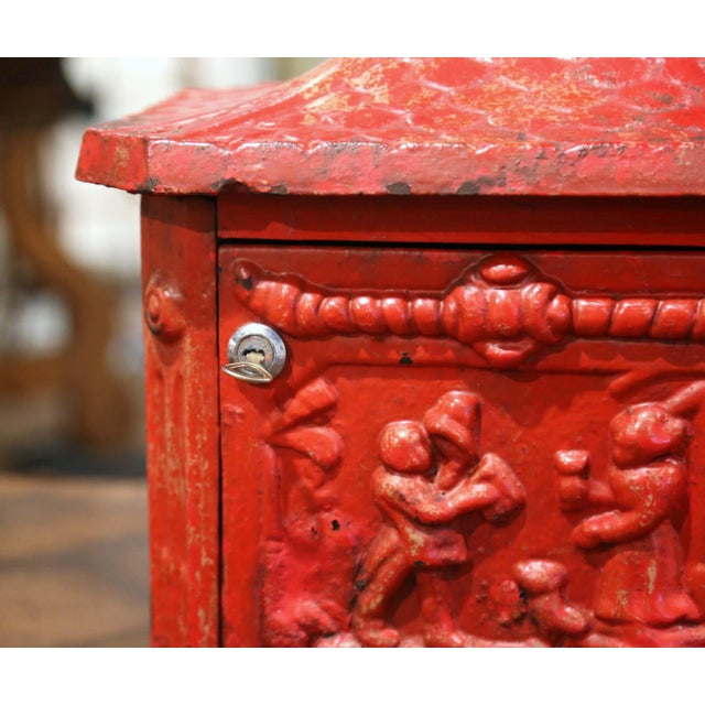 Metal 19th Century English Red Painted Cast Iron Mailbox With Relief Decor For Sale - Image 7 of 10
