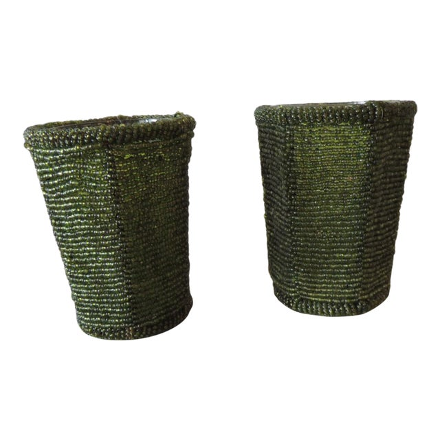 Emerald Green Glass Beaded Votive Holders For Sale