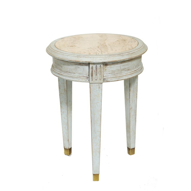 Gold Accent Table With Travertine Insert For Sale - Image 8 of 8