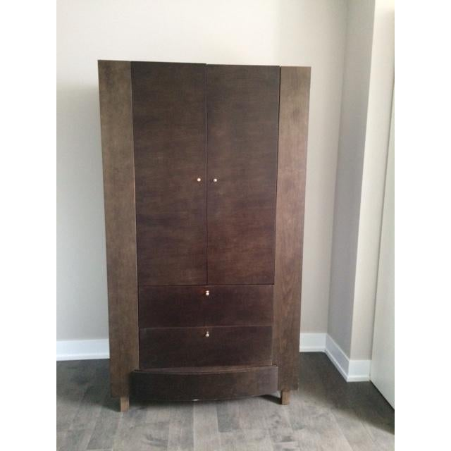 Contemporary Solid Wood Armoire - Image 2 of 4