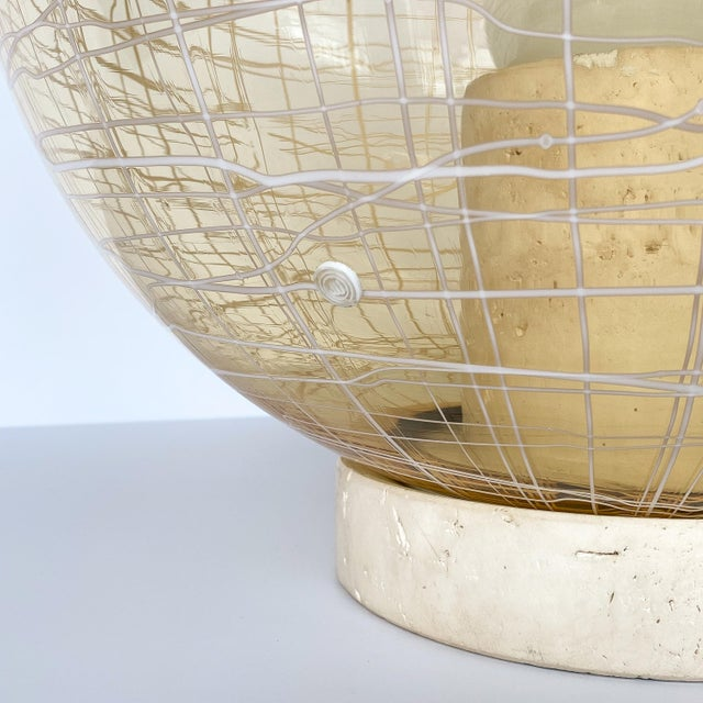 La Murrina Pale Yellow Globe and Travertine Table / Floor Lamp For Sale In Chicago - Image 6 of 13
