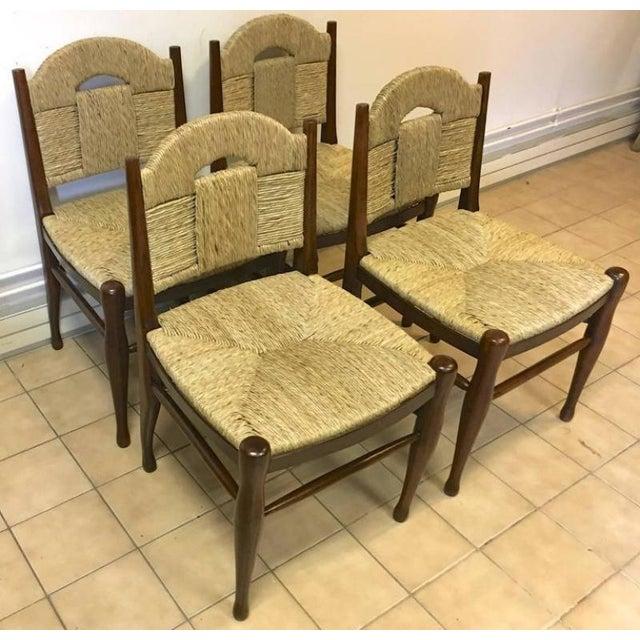 """Art Deco J.E.Ruhlmann Rare Set of Four Chairs Model """"Rendez-Vous Des Pêcheurs De Truite"""" For Sale - Image 3 of 7"""
