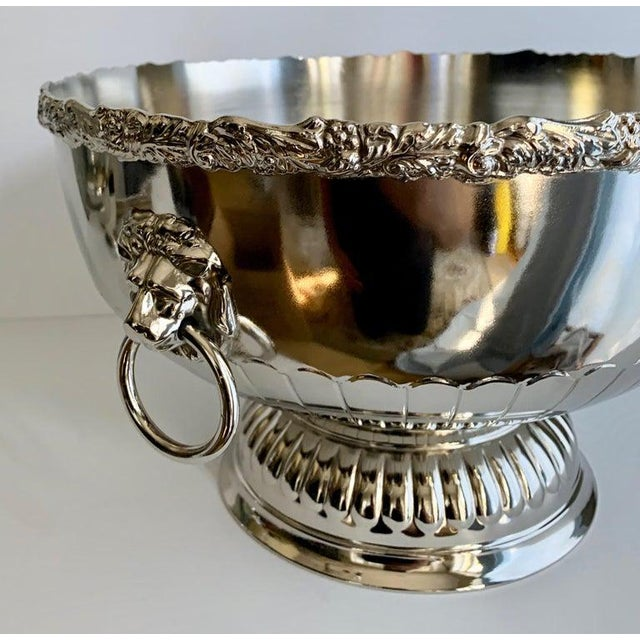 English Silver Punch Bowl With Rim and Lion Handle Details For Sale In Los Angeles - Image 6 of 7