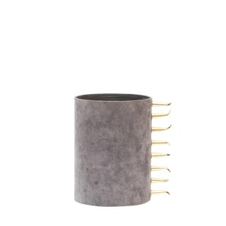 Contemporary Gravel Suede Vase - Small For Sale