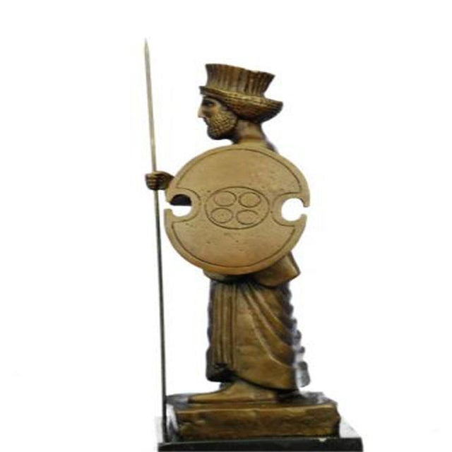 Islamic Cyrus the Great Persian King Kanaev Bronze Sculpture Marble Base Statue For Sale - Image 3 of 9
