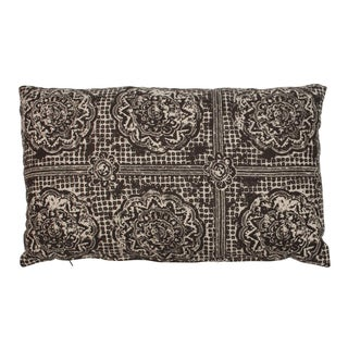 Raoul Textiles Brown Block Print Lumbar Pillow For Sale